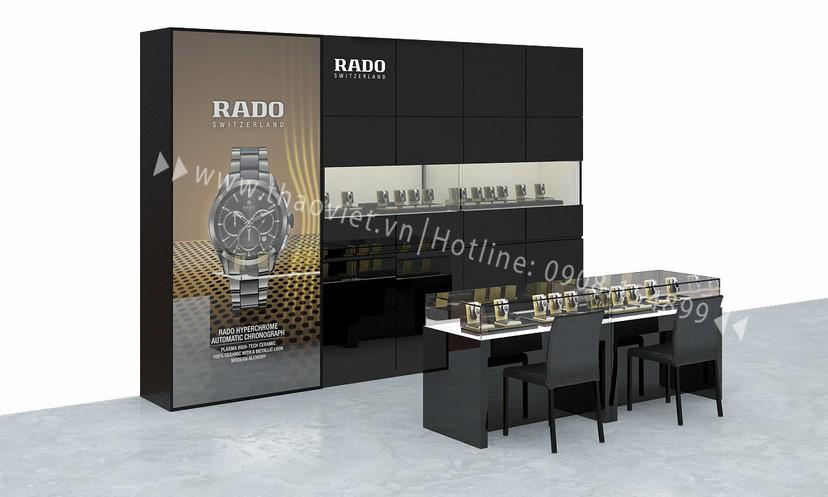 thiết kế shop đồng hồ Rado Corner