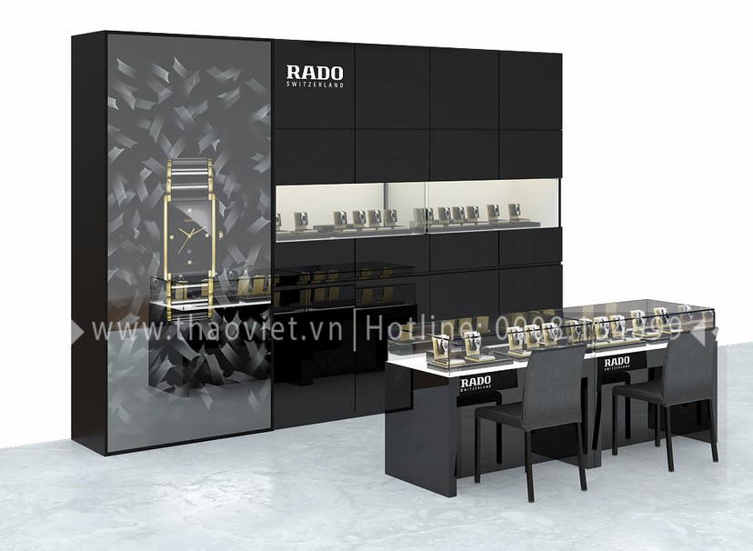 thiết kế shop đồng hồ Rado Corner 3
