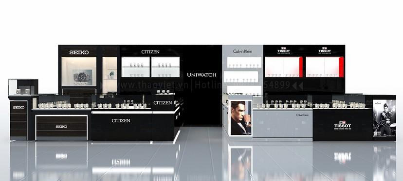 thiết kế nội thất shop đồng hồ Seiko Uni Watch 1