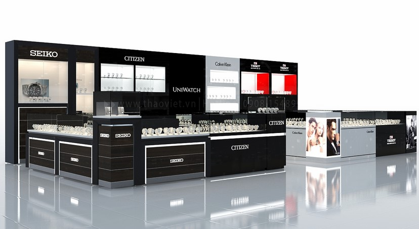 thiết kế nội thất shop đồng hồ Seiko Uni Watch 3