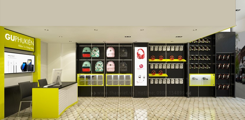 thiết kế nội thất shop phụ kiện 7