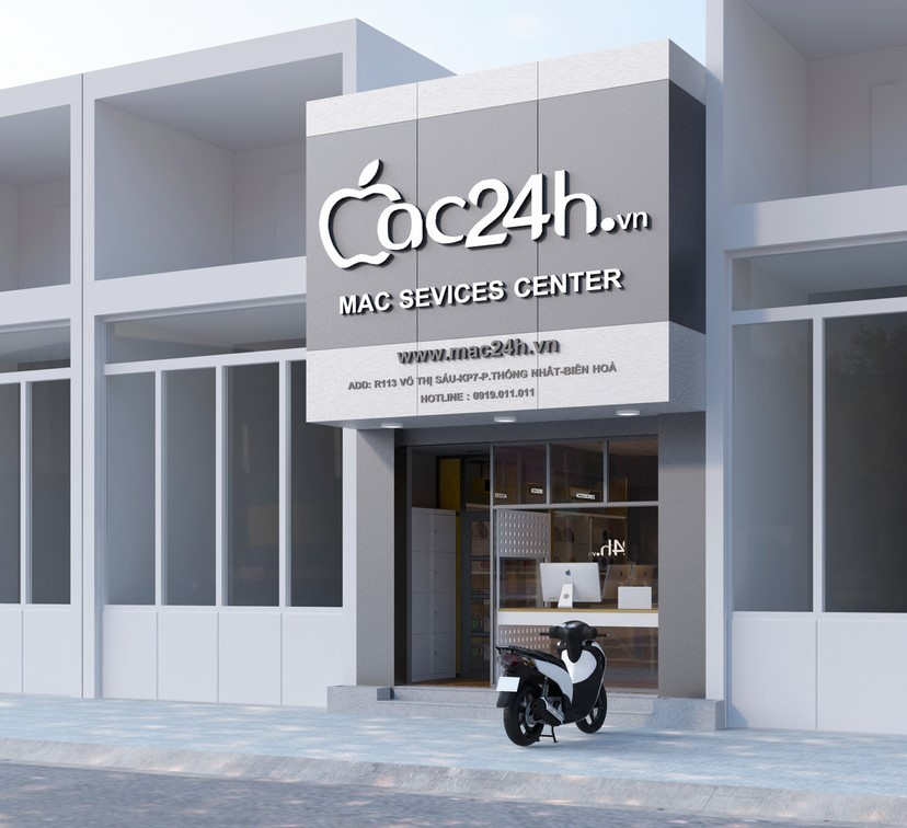 Thiết kế nội thất shop Mac 24h 1