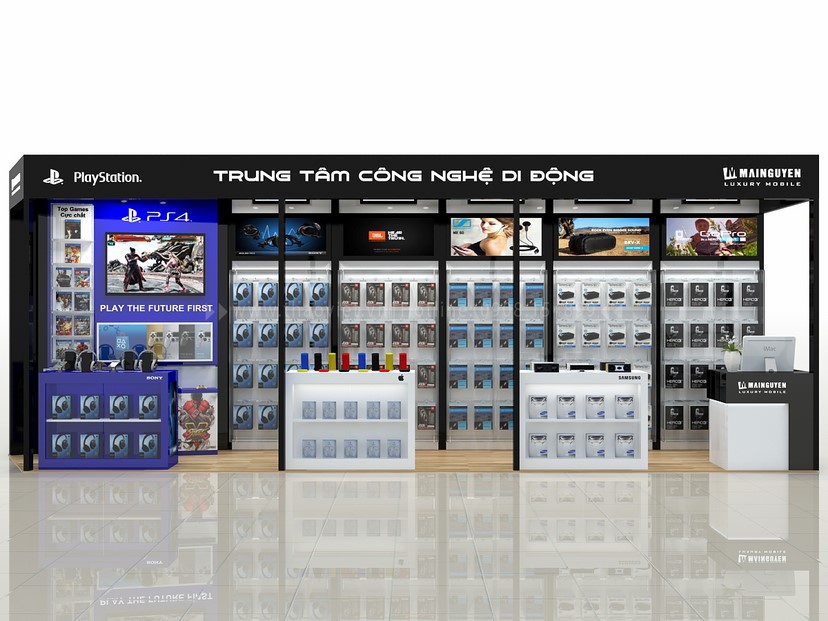 thiết kế gian hàng trưng bày điện thoại Mai Nguyên