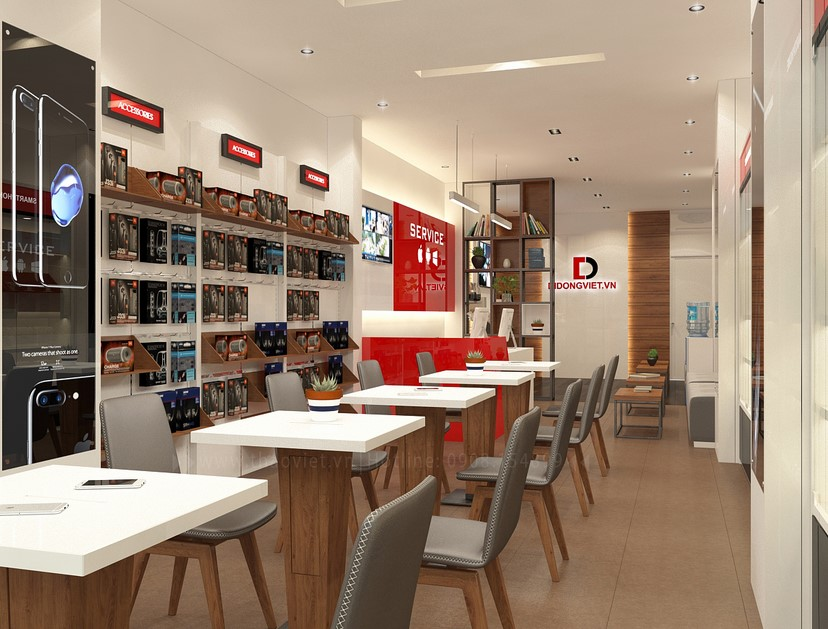 Thiết kế nội thất shop điện thoại Di Động Việt 1