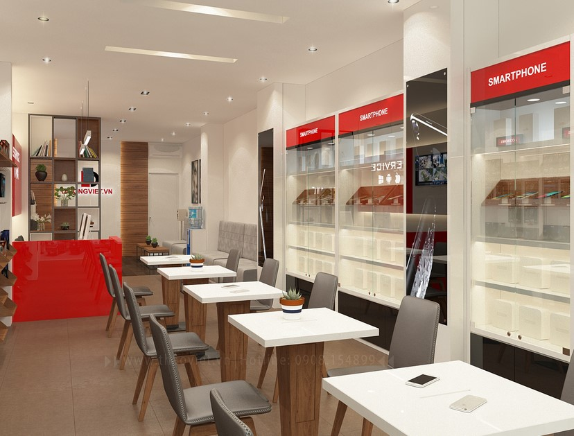 Thiết kế nội thất shop điện thoại Di Động Việt 2