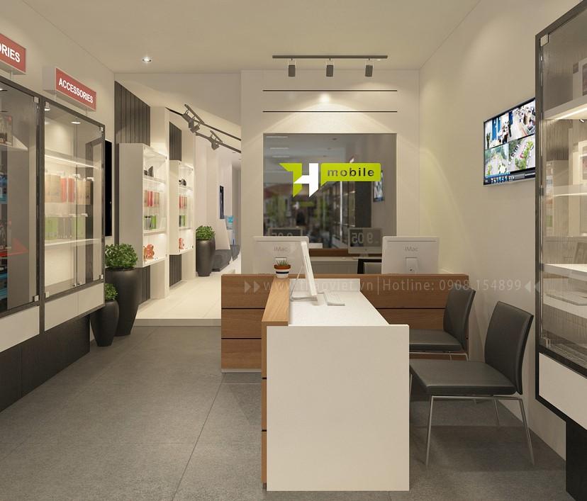 thiết kế nội thất shop điện thoại T&H 2