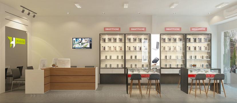 thiết kế nội thất shop điện thoại T&H 8