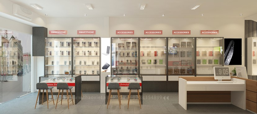 thiết kế nội thất shop điện thoại T&H 9